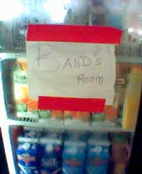 Refrigerator sign: 'Band's Room'